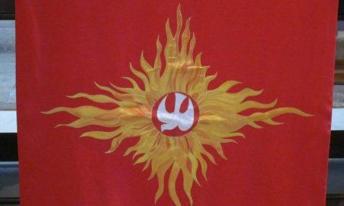 Pentecost banner, Romsey Abbey UK — Ana Gobledale