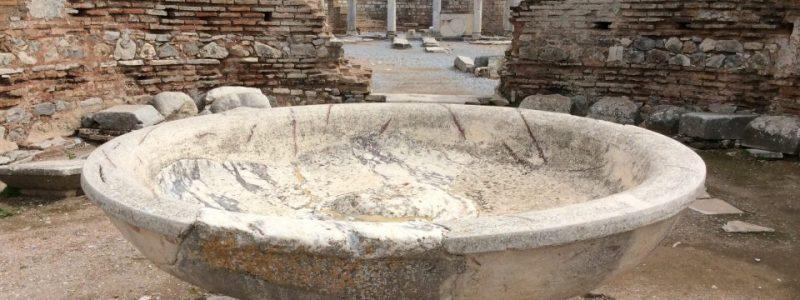 baptismal font, Ephesus, Turkey — photo by Ana Gobledale