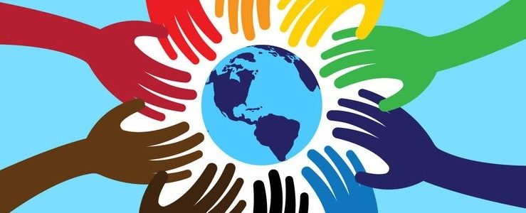 world picture with coloured hands