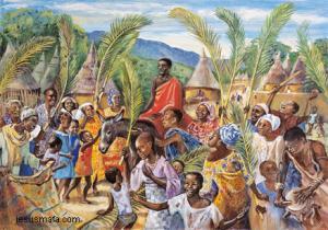 Palm Sunday, African Art --  image,  www.jesumafa.com