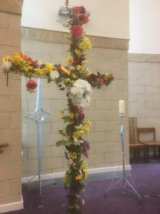 Easter Flower Cross at The Crossing Church, Worksop -- by Geoffrey Clarke