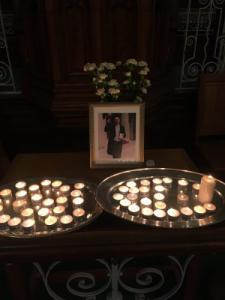 Funeral memorial display, by Geoffrey Clarke, UK
