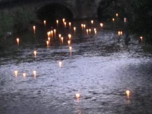 Hiroshima Day candle float for peace, Salisbury UK