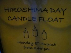 Hiroshima Day candle float poster, Salisbury UK
