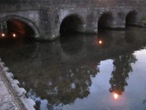 Hiroshima Day candles for peace, Crane Bridge,Salisbury UK