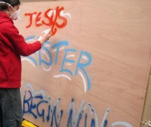 Easter youth mural, Salisbury UK -- Ana Gobledale
