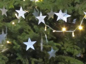 Christmas prayer stars,. Rochester Cathedral, UK -- photo by Ana Gobledale