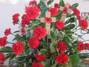 Remembrance Day bouquet, St Andrew's United Reformed Church, Brockley, Ana Gobledale, London UK