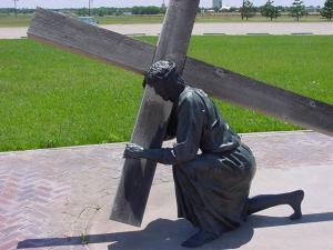 Jesus carrying cross - sculpture-- Ana Gobledale