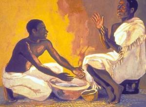 Maundy Thursday foot washing, Mafa artwork www.jesumafa.com