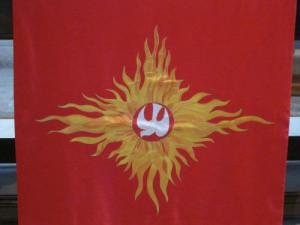 Pentecost banner, Romsey Abbey UK -- Ana Gobledale