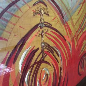 Wells Cathedral, UK altar frontal for Pentecost -- photo by Ana Gobledale