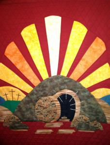 Easter banner at Rowville Uniting Church, Victoria, Australia, sewn by Margaret Birrell